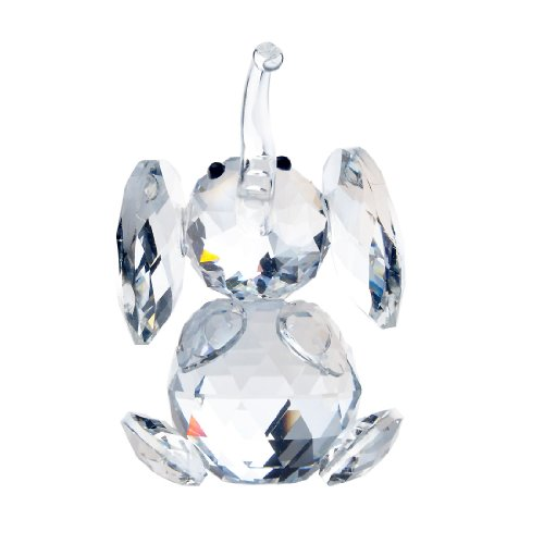 H&D Crystal Cute Elephant Figurine Collection Cut Glass Ornament Statue Animal (Elephant Paperweight)