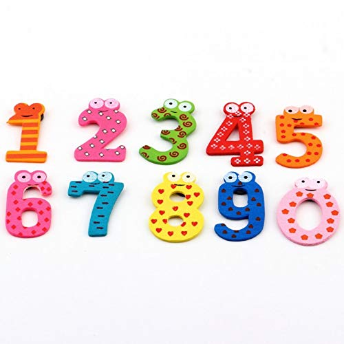 ningbao951 10 pcs Cartoon Cute 0-9 Numbers Wooden Fridge Magnet Stickers Education Learn Toy for Kid Baby