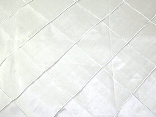 Geometric Grid Embroidered Taffeta Dress Fabric White - per metre