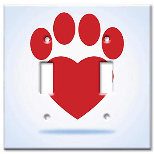 - Art Plates 2 Gang Toggle Wall Plate - Red Dog Paw Heart