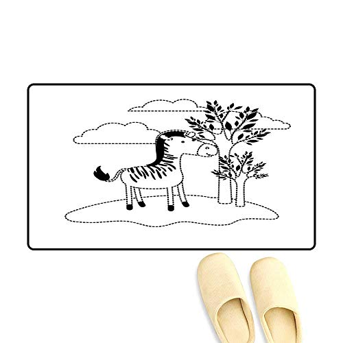 Door Mats for Inside Zebra Cartoon in Outdoor Scene with Trees anclouds in Black - Bobs Shoe Zebra