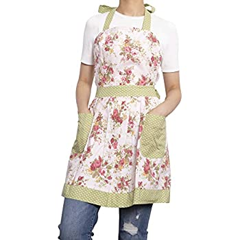 NEOVIVA Kitchen Aprons for Women with Pockets, Durable Women's Chef Aprons for Cooking, Baking, BBQ and Gardening, Style Diana, Floral Quartz Pink