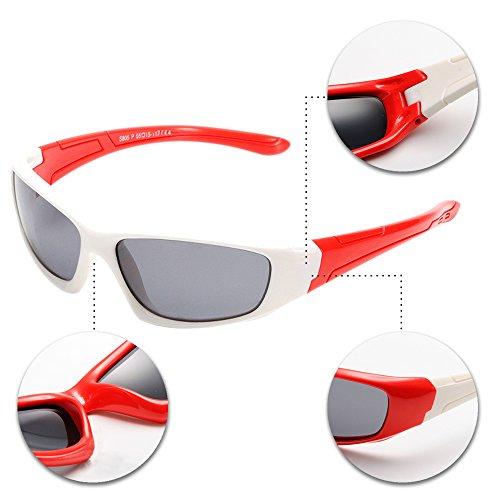 XFentech Unisexe Enfants polarisées Lunettes de Soleil pour Garçons & Filles Monture en caoutchouc flexible Sport Lunettes Blanc/Rouge