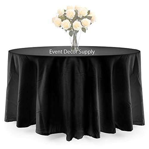 MDS 5 PCS Of 108'' Black Round Polyester Seamless Tablecloths Table Covers For Wedding Restaurant Banquet Party Use Table Cover by mds