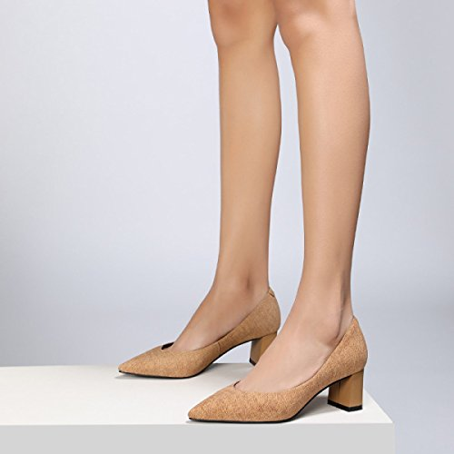 De Cuero Estaciones Punta Mujer Tacón Genuino De Zapatos Coreano Profundo De Cómodo Cuatro Yellow Tacón Zapatos Zapatos Grueso Poco qxOWHwp