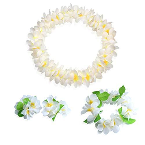 (Youkwer Hawaiian Flower Leis Jumbo Necklace Bracelets Headband Set,Hawaiian Leis Set Hawaii Wreath Lei Party Favors for Hawaiian Luau Party Decoration Supplies (White))