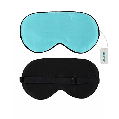 Shintop Premium Sleeping Eye Mask Sleep Mask Eye Mask Eyeshade Super Soft Lightweight & Comfortable Silk Mask Completely Blocks Light Great for Men Women Child (Blue)