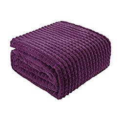 Uxcell Solid Flannel Fleece Queen Size Blanket Lightweight Soft Decorative Blanket With Grid Pattern Luxury Microfiber Plush Blanket For Couch And Bed 78 Inches X 89 Inches Purple