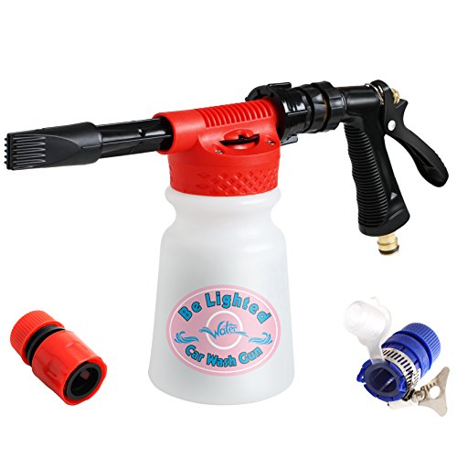 Be Lighted Portable Snow Foamer Car Wash Gun, Garden Cleaner, Water Foam Cleaner for Car, Truck and Motorcycle, No Electricity Required, 900ml Bottle, Leak Free Connection