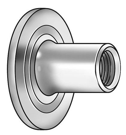#10-24 Steel Round Base Weld Nut with Projections, 50 pk.