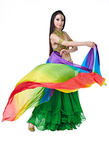 2018 Turkish Belly Dance Style High-Grade Silk Colorful Belly Dance Big Scarf Veils Shawl Best Halloween Gift(78