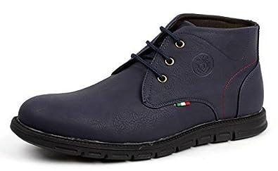 554944e84b101 JAS Mode Hommes lacet Chelsea élégant Cheville rétro Bottes Décontracté  Confort bureau chaussures - Bleu marine