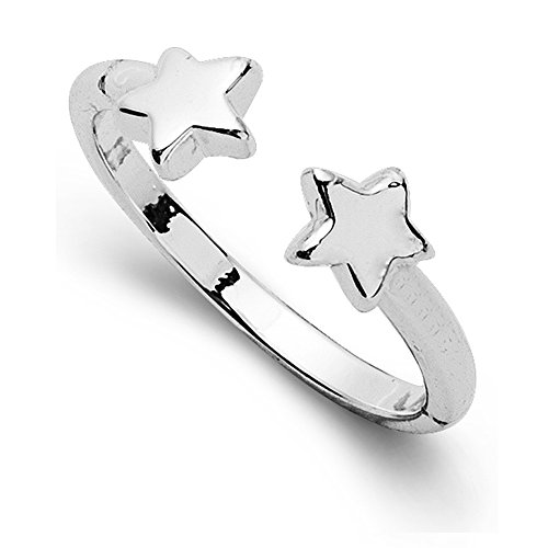 METTU Open Adjustable Small Star Charms Finger Rings for Girls (Rose Gold) (Silver)