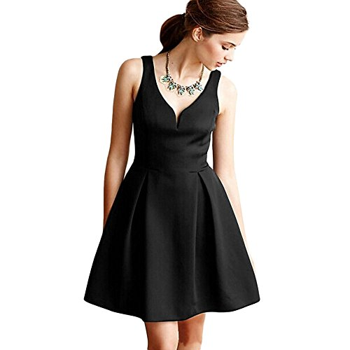 Leomodo Brief Plunging Neck Sash Waist A-Line Women Mini Dress Black