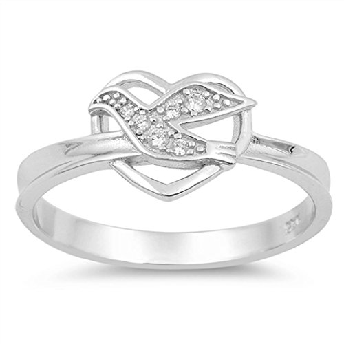 - Sterling Silver CZ Heart Holy Spirit Ring (Size 4 - 10) - 7