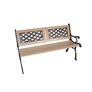 Strong Wooden 3 Seater Garden Outdoor Park Patio Bench Cast Iron Legs Beautiful Design UK Seller