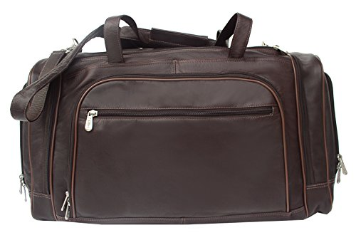 Piel Leather Multi-Compartment Duffel Bag in Chocolate