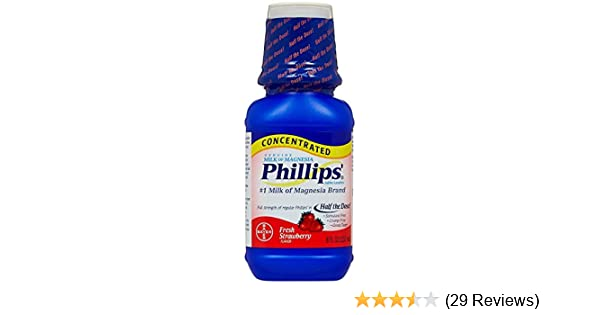 Amazon.com: Phillips Concentrated Milk of Magnesia Saline Laxative, Fresh Strawberry 8 oz: Health & Personal Care
