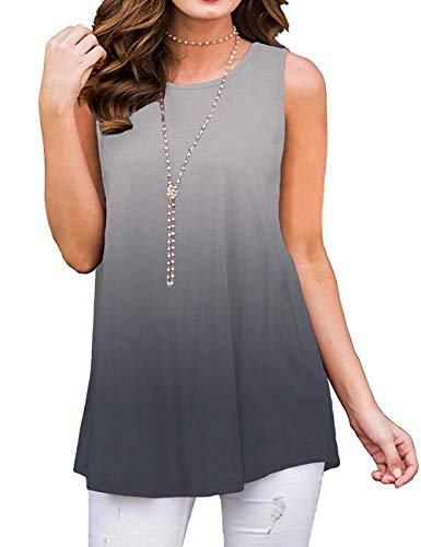 Womens Casual Tops Sleeveless Ladies Shirts Flowy Loose Blouse Tank Tops Ombre Gray S