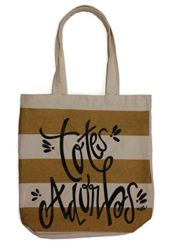 Totes Adorbs Striped Trendy Canvas Fashion Tote (Metallic Striped Tote)