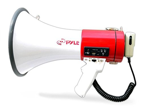 Pyle Megaphone with Siren Bullhorn 50 Watt - Bullhorn Speaker with Detachable Microphone, Portable Lightweight Strap & Rechargeable Battery - Professional Outdoor Voice for Police & Cheerleading (Portable Megaphone)