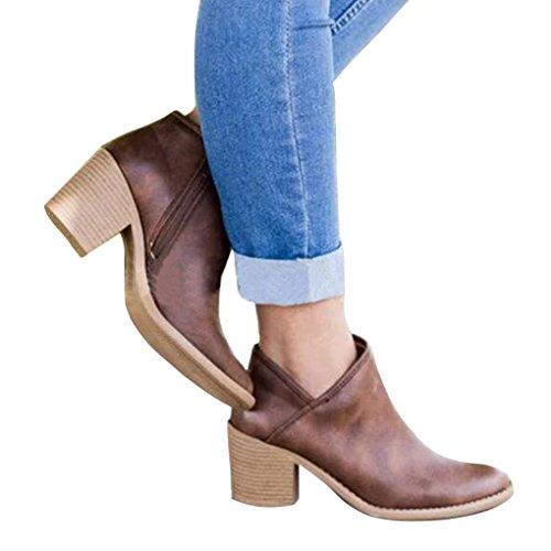 Mujeres Moda Otoño Zapatos Redonda Casual Ancho Minetom Bootie Botas PU Puntera Café Sólido Cremallera Boots Tacón Elegante gwqdR