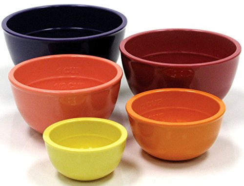 Anchor Hocking 5-Piece Nesting Solid Color Measuring Cup Set, Melamine