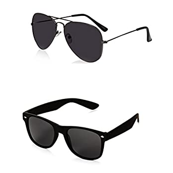 Generic Men's Aviator and Wayfarer Sunglasses(Black)