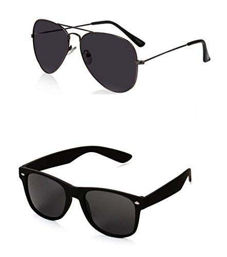 Unisex Adult Aviator Sunglasses Black Frame, Black Lens