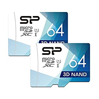 Silicon Power 64GB 2-Pack 3D NAND High Speed MicroSD Card with Adapter