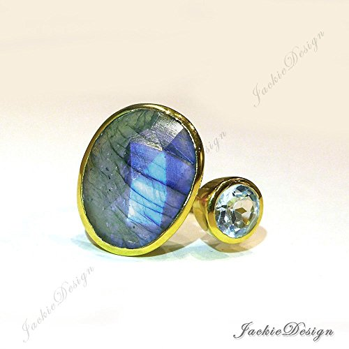 Size 8 Flash Blue Labradorite Blue Topaz Stackable Cocktail Gold Plated Sterling Silver Ring (Flash Cocktail)