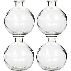 Hosley Set of 4 Glass Bottles - 250ml - Ideal Gift for Wedding or Flower Vase, Bud vase DIY Crafts, Diffuser Refill, Aromatherapy Oils Storage O4