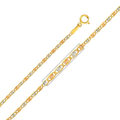 Wellingsale 14k Tri 3 Color Gold Polished Flower in Heart Charm Pendant with 1.5mm Valentino Diamond Cut Chain Necklace – 20″