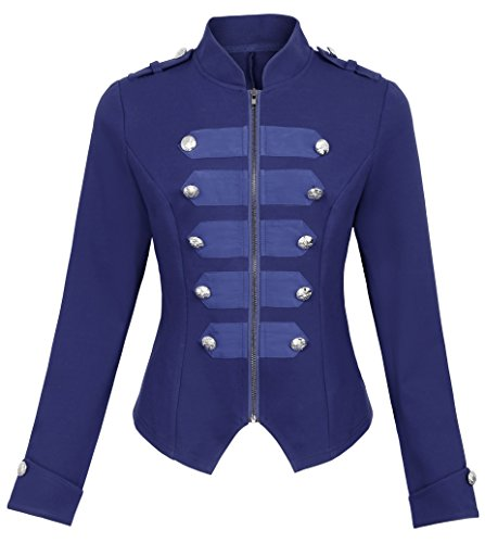 Women Gothic Military Jacket Coats Steampunk Zipper Coat KK464-4 Navy Blue Size S