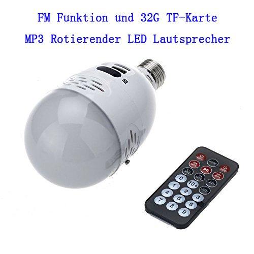 LQZ® FM-FUNKTION E27 5W MP3 DJ Birne LED Lautsprecher Smart-Home Disco Party Licht Bar Rotierende Leuchte Discokugel DJ / Weiss/ TF-Card MP3