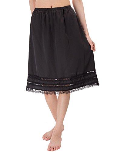 Slip Half Vintage (Kate Kasin Women's Half Slip Vintage Underskirt with Lace Trim (L,Black))