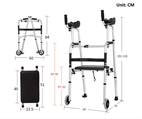 - Elderly Walker Folding Front Wheeled Walker Aluminum Alloy Arms Support with 2 Button and 5