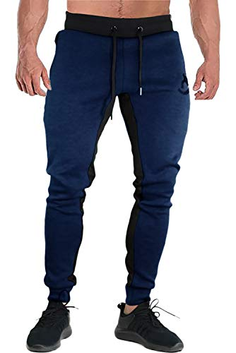FASKUNOIE Men's Sports Pants Athletic Active Long Pants Exercise Trousers with Zipper Pockets Navy