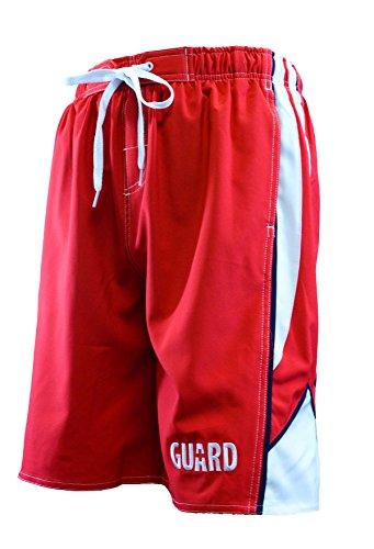 Ultrastar Men's Guard Arrow Board Short Swimwear - Red/White - - Lifeguard Trunks Swim