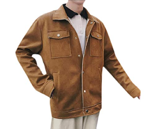 Coat Autumn Embroidery RkBaoye Coffee Loose Jacket Suede Warm Faux Men's Buckle qvqwYHz1E