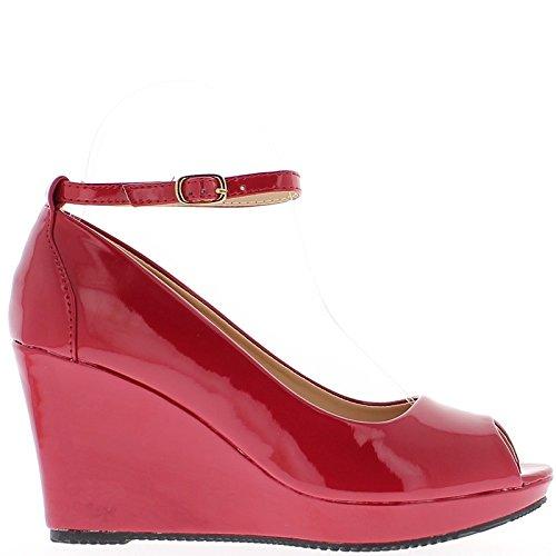 Cm Tacón Zapato 5jhseits Con Barnizado A Zapato Tacón 85 Brida Y De Rojo Desvío 68bc8f