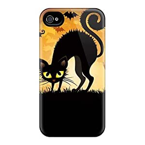 Fashion Protective Frightened Cat With Bats And Ghosts For Iphone 5/5S Case Cover