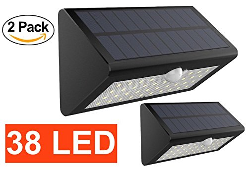 Price comparison product image [Solnergy] 38 LED Bright Solar Sensor Light,  Outdoor Motion Lighting,  Big Power Button,  Security Motion Sensor Lamp Light,  Auto On / Off,  Patio,  Yard,  Garden,  Driveway,  Stairs,  Pool Area (2 in Pack)