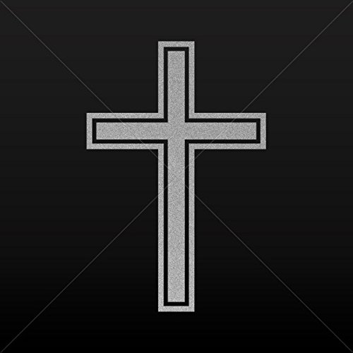 (Religion Various sizes Decals Decal Simple Cross Car Door Hobbies Waterproof Racing Silver-Matte (12 X 7.96 Inches))