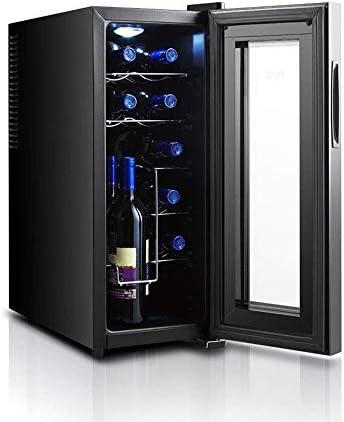 YFGQBCP 12 Botellas de Vino más Fresco, Zona Pantalla de Funcionamiento Toque de Temperatura Digital Display termoeléctrica Independiente Pequeño refrigerador de Vino de Nevera