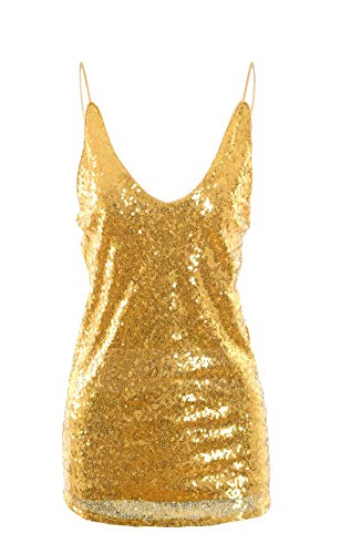 Oflive Women's Sexy Gold Shimmer Sequin Embellished Sparkle Deep V Neck Camisole Vest Tank Tops (XL, Gold)