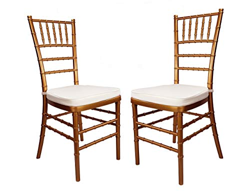 (Set of 2 Bronze Elegant Chiavari Chairs with Steel Core and 1