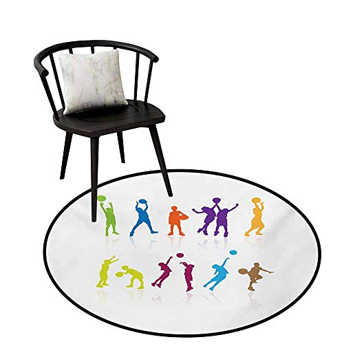 Gorgeous Circular Rug Youth,Colorful Silhouettes of Children Jumping and Playing Basketball with Reflections,Round Entryway Rug Floor Mats Welcome Mat Living Room Rug 28
