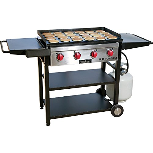 Camp Chef Flat Top Grill 600 (FTG600), Best Professional Restaurant Grade 2-in-1 Cooking Grill and Griddle with Side Shelves