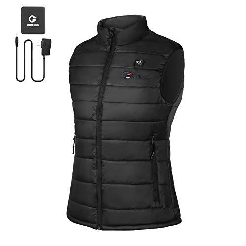 OUTCOOL Women's Heated Vest Slim Fit Insulated Heating Vest (Type:NMJ1802)(M) Black